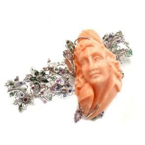 Bracciale maxi artistico oro, scultura corallo,