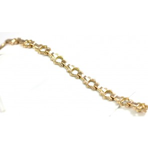 Bracciale oro effetto catena liberty, in stile - 9 gr; 18,5 cm