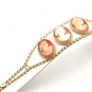 Bracciale catena oro e 3 cammei - 27.44 gr; 20 cm x 3.5 cm