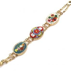 Bracciale catena 3 ovali mosaico, oro -