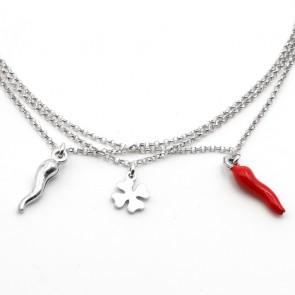 Bracciale charms portafortuna argento, corni e quadrifoglio - 19 cm; 3.96 gr