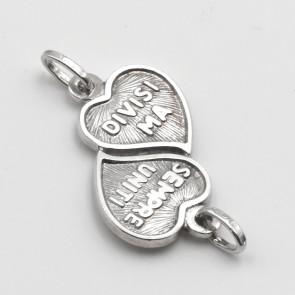Ciondolo doppio cuore argento,