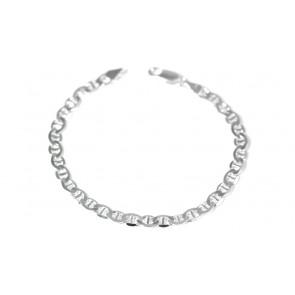 Bracciale uomo catena maglia marinara piatta argento