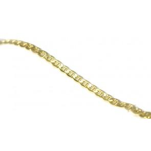 Bracciale uomo catena maglia marinara piatta argento dorato  - 19,5 cm x 0,5 cm; 7,5 gr
