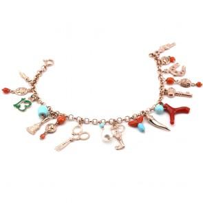 Bracciale charms anti iella, argento rosa; 24 gr - 20 cm
