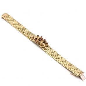 Bracciale in stile a fascia larga catena decorato con rubini - 0.80-0.90 ct - e oro - 49.39 gr. 18.7 cm x 1.5 cm