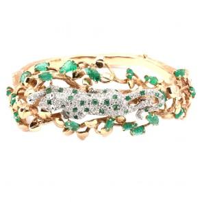 Bracciale capolavoro rigido, oro, smeraldo e diamanti