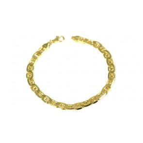 Bracciale uomo catena maglia marinara piatta argento dorato