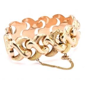 Bracciale polsino a fascia larga, catena maglia in stile, oro - 49.9 gr. 19.7 cm x 2.6 cm