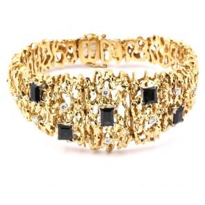 Bracciale semi rigido ramificato, oro, diamanti