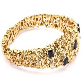 Bracciale semi rigido ramificato, oro, diamanti -0.30-0.40 ct- e zaffiri - 7-8 ct-  62.2 gr.