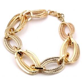 Bracciale catena maglie ovali, oro -