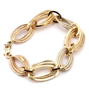 Bracciale catena maglie ovali, oro - 12.32 gr. 22 cm x 1.9 cm