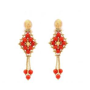 Orecchini pendenti tessiti in stile oro e corallo rosso