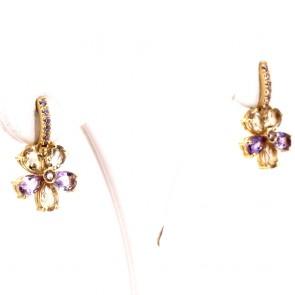 Orecchini fiori pendenti oro, ametista e quarzi lemon - 2.3 cm; 6.19 gr.