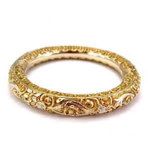 Bracciale in stile, bangle a cerchio rigido in oro giallo,