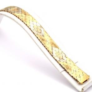 Bracciale a fascia larga vintage, maglia in stile flessibile incisa , oro - 42.01 gr. 19 cm x 1.6 cm