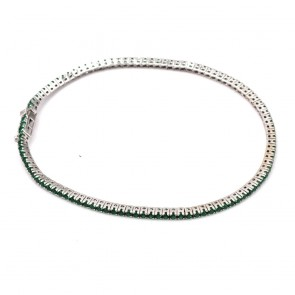 Bracciale tennis oro e smeraldi di sintesi -