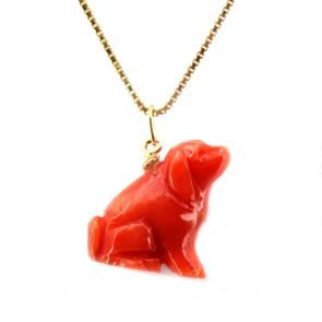 Ciondolo cane corallo e oro