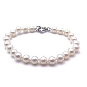 Bracciale da 20 cm di perle giapponesi - 6.5 mm- con chiusura moschettone in oro; 12.33 gr