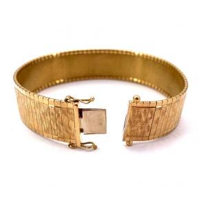 Bracciale a fascia larga vintage, maglia in stile flessibile incisa , oro - 53.35 gr. 19.5 cm x 1.6 cm