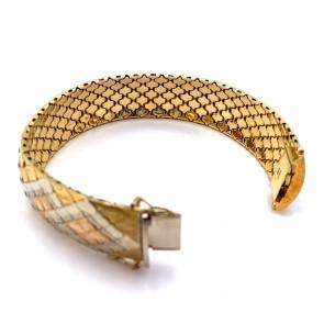 Bracciale a fascia larga vintage, maglia in stile flessibile incisa a 3 colori, oro - 67 gr. 19 cm x 2 cm