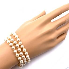 Bracciale da 17 cm 3 fili di perle giapponesi - 6.5-7 mm- con chiusura in oro e diamanti - 0.06-0.08 ct; 34.4 gr