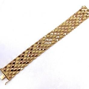 Bracciale artigianale, vintage, a fascia larga oro - 20 cm x 2.4 cm; 59.6 gr