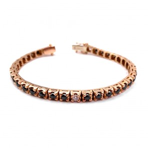 Bracciale tennis oro rosa e diamanti neri