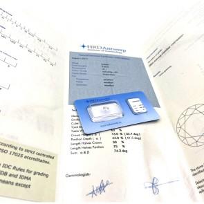 Brillante certificato HRD. ct 0.59; G-IF