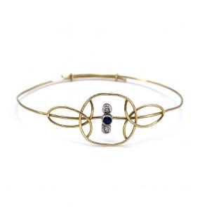Bracciale a cerchio rigido in filo d'oro, mini zaffiro