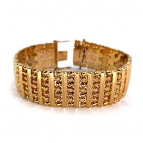 Bracciale artigianale, vintage, a fascia larga oro