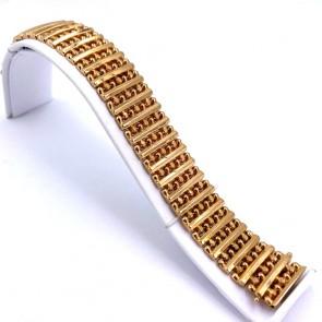 Bracciale artigianale, vintage, a fascia larga oro - 19 cm x 2.1 cm; 34.5 gr