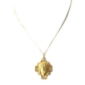Ciondolo croce Volto di Cristo oro - 9,5 gr