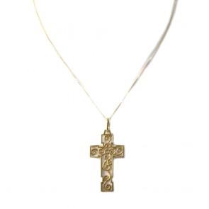 Ciondolo croce in stile, oro traforato; 4,7 gr.