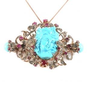 Ciondolo maxi scultura turchese in stile, oro, diamanti