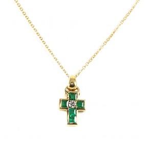 Ciondolo croce oro, smeraldi -