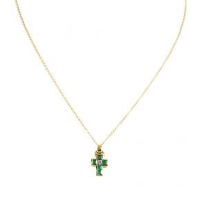 Ciondolo croce oro, smeraldi - 0.52 ct - e diamanti -0.08 ct. 4.1 gr.