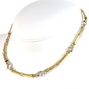 Collana collier catena semirigida con diamanti -0.45-0.50 ct-  42 cm; 38 gr