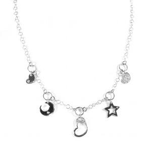 Collana charms cuori, stella e luna, oro e diamanti