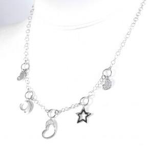 Collana charms cuori, stella e luna, oro e diamanti - 0.24 ct - 44 cm; 12 gr