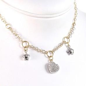 Collana charms stelle e cuore, oro bicolore e diamanti - 0.45 ct - 45 cm; 11.5 gr