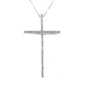 Ciondolo croce oro e diamanti -0.45 ct; 9.8 gr