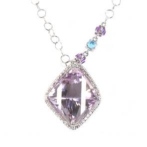 Ciondolo oro, diamanti - 0.43 ct- e ametista. 11 gr.