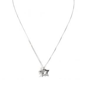 Ciondolo doppia stella oro e diamanti - 0.06-0.08 ct; 3.6 gr