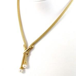 Collana modello saliscendi tubogas fisso in oro con perle Akoya da 7,0-7,5 mm - 45 cm; 25,8 gr