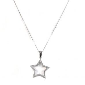 Ciondolo stella oro e zirconi - 4 cm x 2.7 cm; 4.45 gr