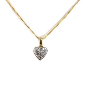 Ciondolo cuore oro bicolore e diamanti