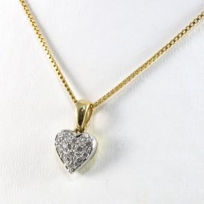 Ciondolo cuore oro bicolore e diamanti - 0.15-0.18 ct; 1.4 gr