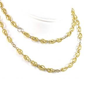Collana catena lunga olive traforate ed esagoni oro bicolore - 82 cm; 46,33 gr